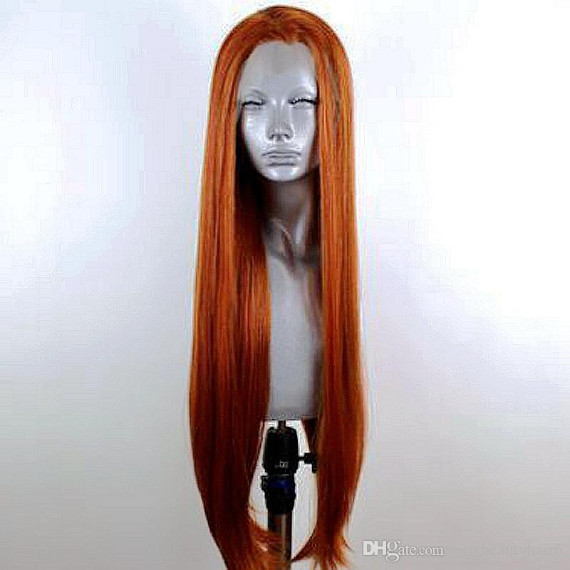Long Straight synthetic dark auburn color wig Glueless Heat Resistant Cosplay Lace front wig 180% density orange copper red wigs for women