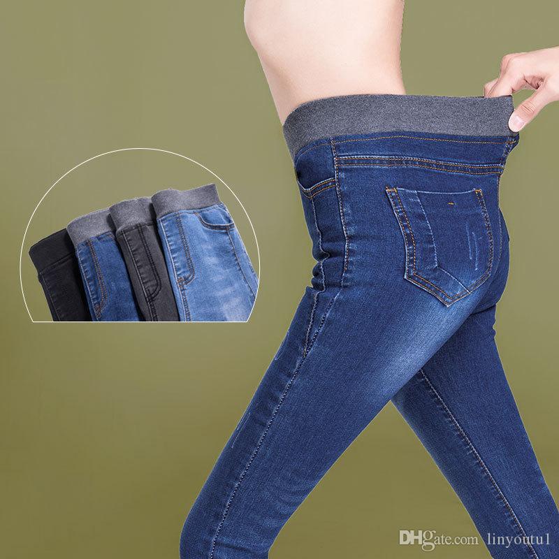 2019 printemps et d'été, plus la taille mi taille élastique stretch longueur de cheville maman jeans pour les femmes pantalons skinny pantalons capris