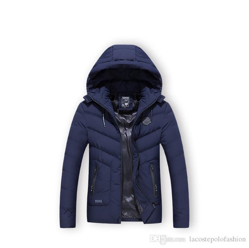 Fashion Solid Herren Winter Parkas Designer Thick Warm Herren Tops Zipper Fly Homme Cotton Padded Jacket