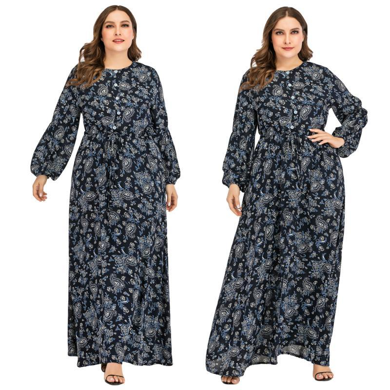 Muslim Women Printed Long Dress Plus Size Puff Sleeve Abaya Kaftan Cocktail Party Loose Robe Cocktail Party Casual Clothing Gown
