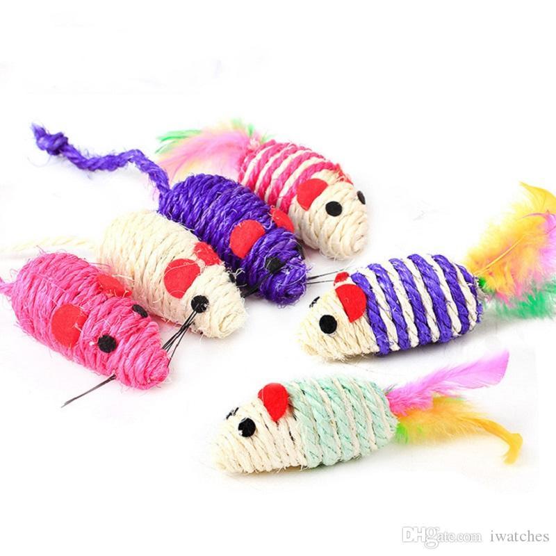 Sisal dents pour animaux de compagnie éco-créative queue de plumes couleur rayé jouet pour chat souris rongent mignons jouets Livraison gratuite