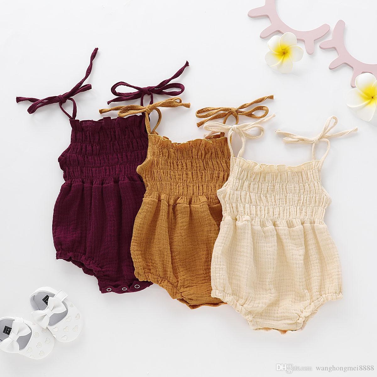 Reizender neugeborener Baby-Sommer-Spielanzug 2019 Sleeveless Rüsche-Overall-Ausstattungs-Baby-Baumwollspielanzug-neugeborene Kleidung 0-18M