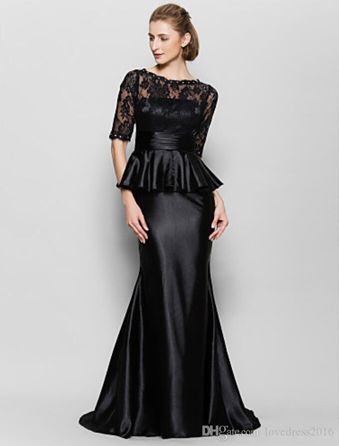 2019 Black Mermaid Evening Dresses with Peplum Lace Half Sleeves Mother of the Bride Dress Zipper Back Prom Formal Gowns