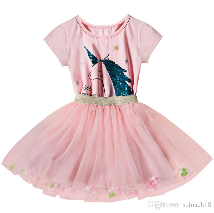 New Summer Baby Girls Dress Unicorn Kids Cartoon Cotton Lace Tulle Tutu Princess Dress Children Dresses 4619