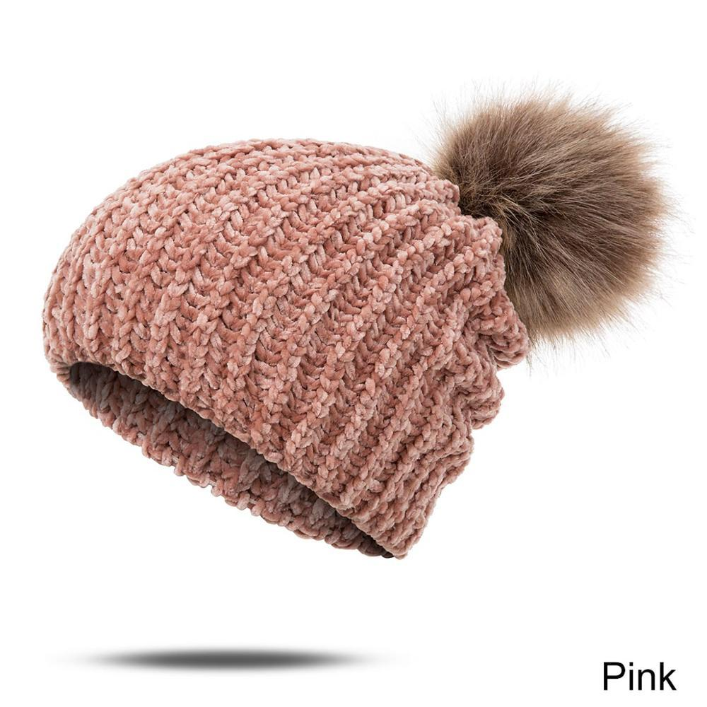 Skullies Winter Hat For Women Knitted Fur Pompom Soft Thick Head Accessories New