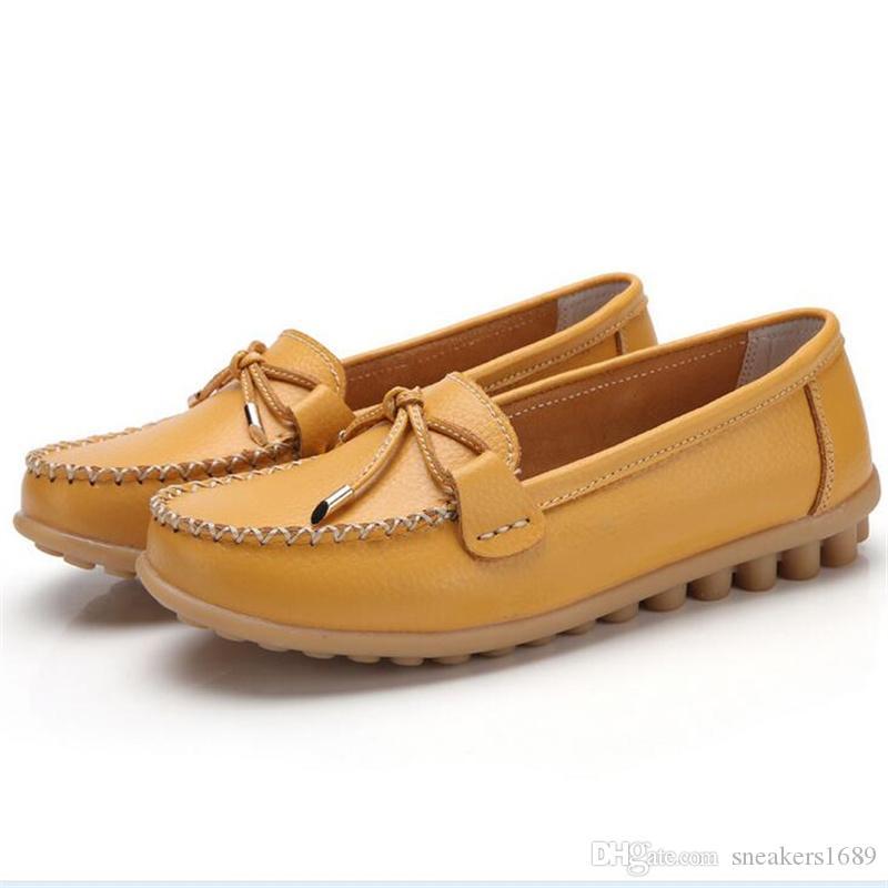Flache Schuhe der Art und Weisefrauen beiläufige Bogenfrauenschuhe bequeme lederne Schuhe Zapatos Mujer X120