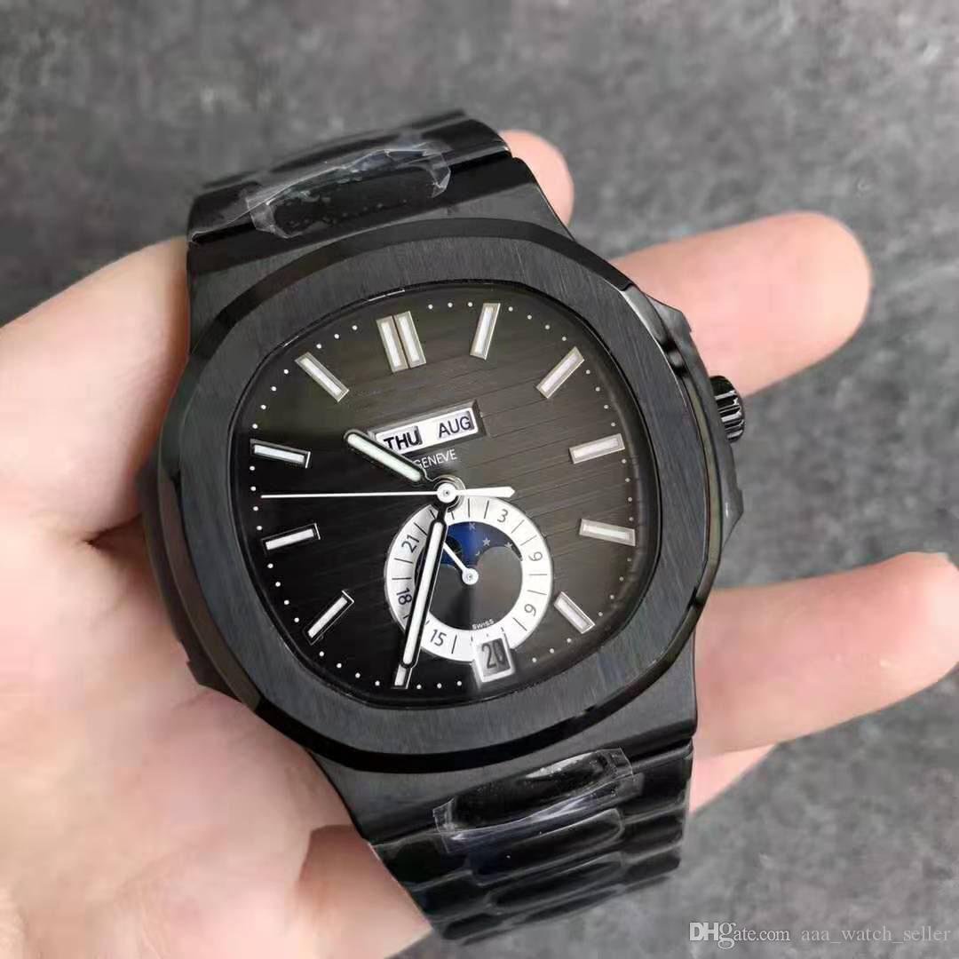 Дизайнер смотреть лучшее качество все Черный Nautilus 5726 / 1A 5711 нержавеющая сталь механизм с автоподзаводом мужская мода наручные часы мужские часы