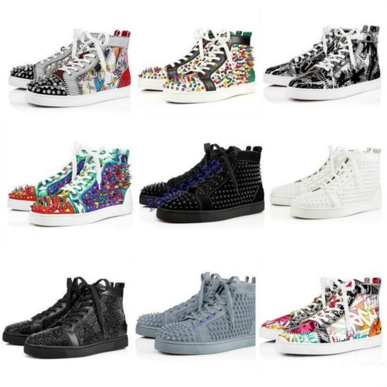 2019 Red Shoes Bas Hommes Femmes cloutés baskets plate-forme Spikes Vintage en cuir véritable rivets occasionnels taille Sneaker 36-46