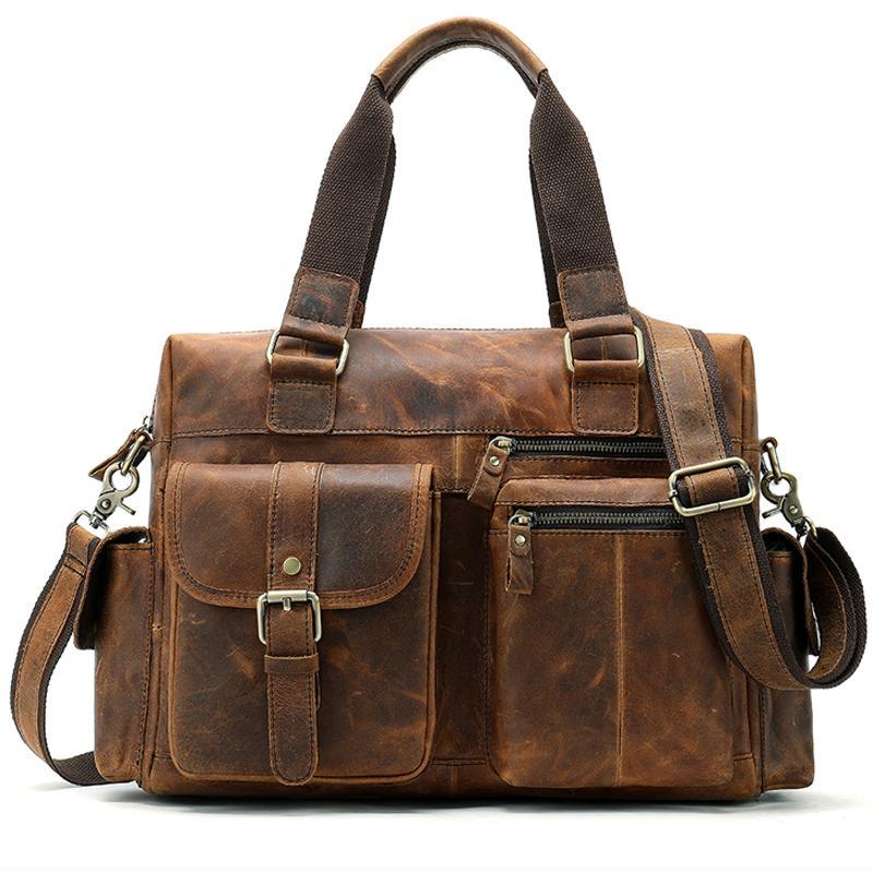 100% couro genuíno Briefcase Messenger Bag Men Shoulder masculino saco pastas Laptop Bolsa de computador bolsas de couro para documentos