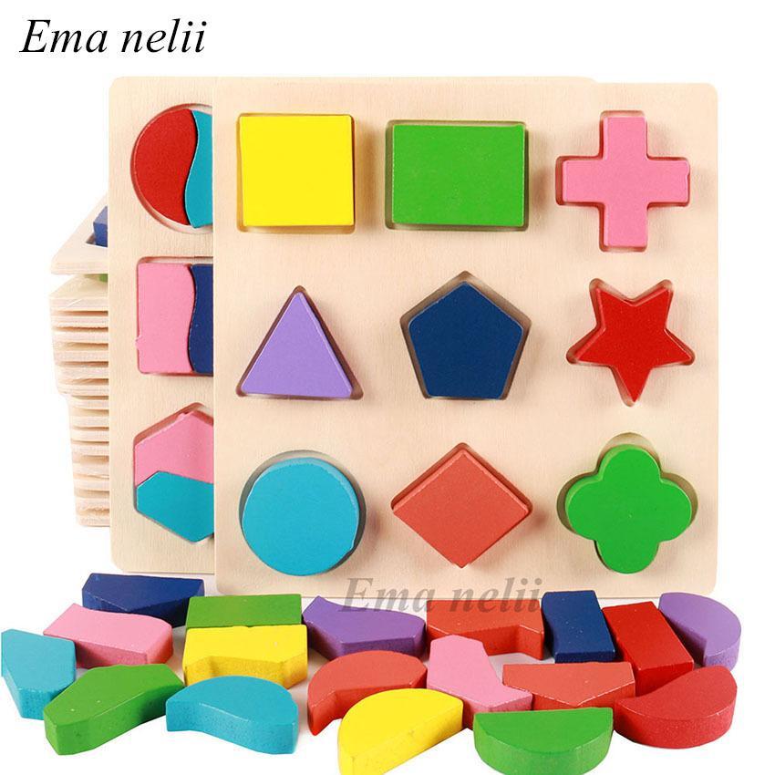 Venda Formas Geométricas E correspondência de cores de madeira quebra-cabeças 3D bebê Montessori primeiros educacionais aprendizagem brinquedos 3 Pcs / set