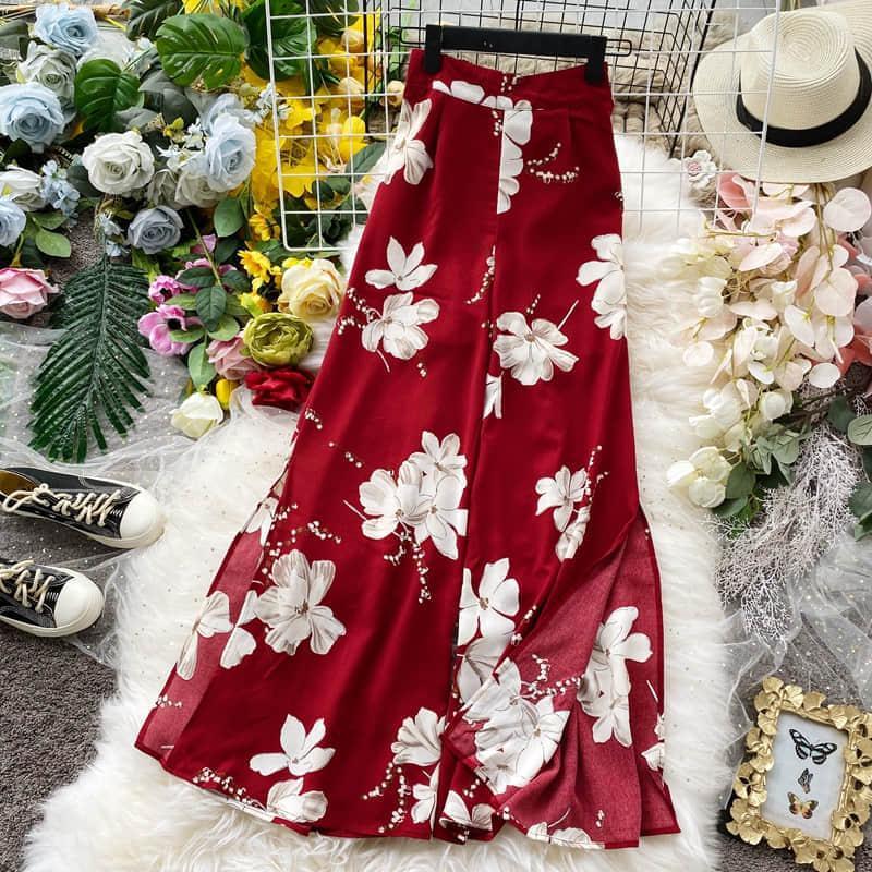 Pantalones de pierna ancha con estampado Floral bohemio para mujer pantalón largo Casual verano Boho playa vacaciones pantalones elásticos de gasa de cintura alta