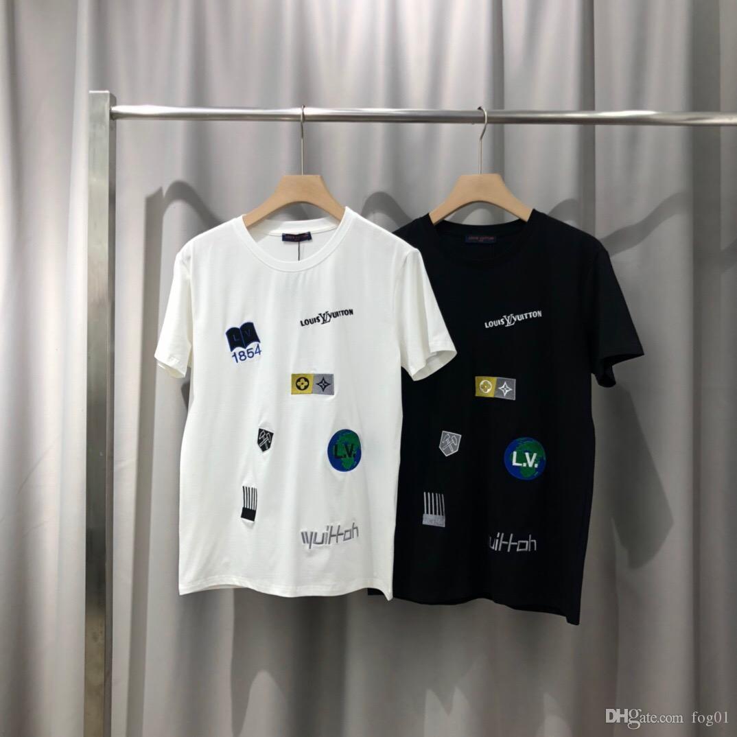2020ss primavera e l'estate nuovo cotone di alta qualità di stampa manica corta rotonda pannello collo T-shirt Dimensione: m-L-XL-XXL-XXXL Colore: nero bianco 0A9