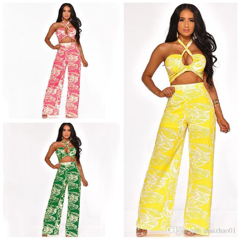 Мода Женщины Комбинезон Backless Холтер Rompers Bohemian клеш Дизайнер Комбинезоны Summer Цельный Bodysuit Ночной клуб Ромпер New