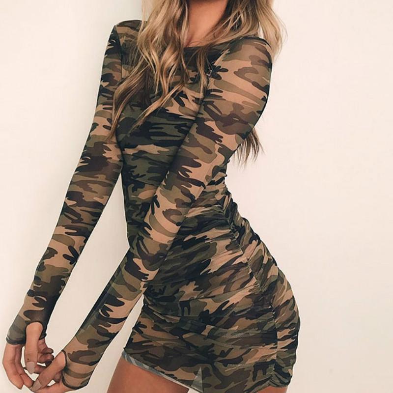 Sexy Frauen Camo Langarm Gerade Kleid Damen Bodycon Party Nachtclub Perspektive Camouflage Kleid Kleidung Damenbekleidung