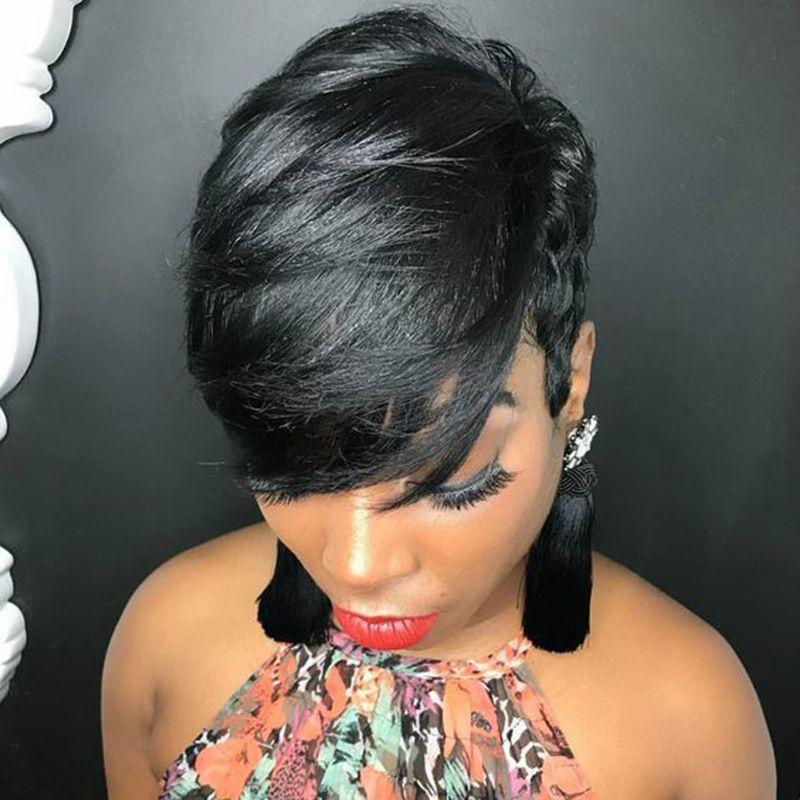 Человек Pixie Cut волос парики с фронта шнурка Нет Бразильская Straight Короткие человеческие парики волос для женщин Черный Короткие пиксибоб