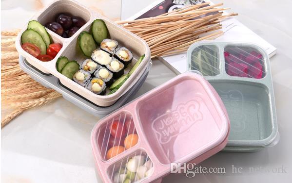 Food Grade de palha de trigo portátil Bento Box Lunch Box Portátil frutas e outros petiscos caixas de armazenamento ao ar livre Camping Caixa Conveniente