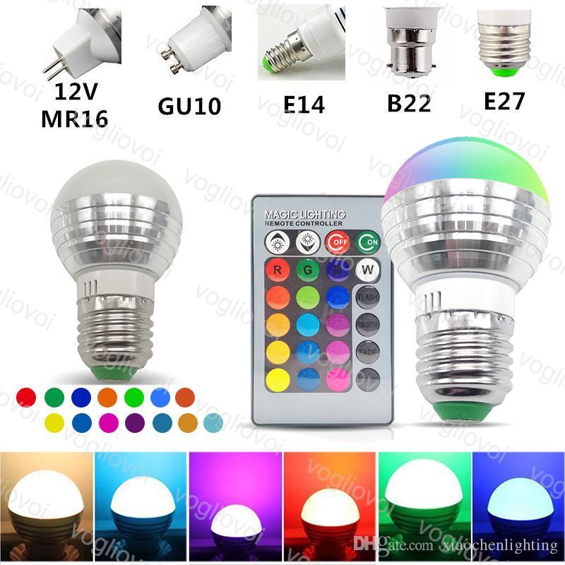 LED Bulbs 3W 16 Color Multicolor Light RGB Spotlight +24key IR Remote Control For Christmas Halloween Home Party EUB