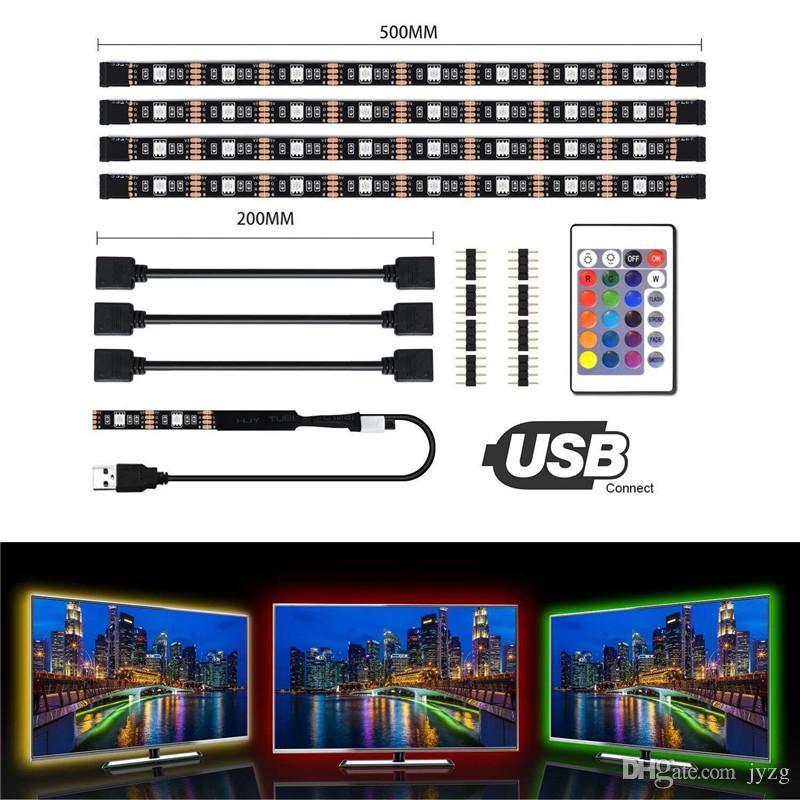 5050 DC 5V RGB LED قطاع ماء 60LED / M USB LED ضوء شرائط مرنة النيون الشريط 4 * 50CM إضافة عن بعد للتلفزيون خلفية