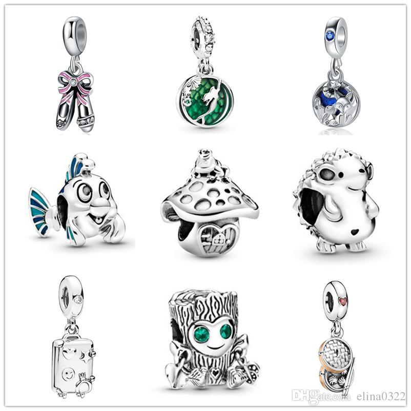 Ariel kurbağa ve tavşan diy boncuk Fit Pandora Charm Bileklik D072 nino en yeni ücretsiz gönderim MOQ20pcs avrupa gümüş Küçük Denizkızı mantar