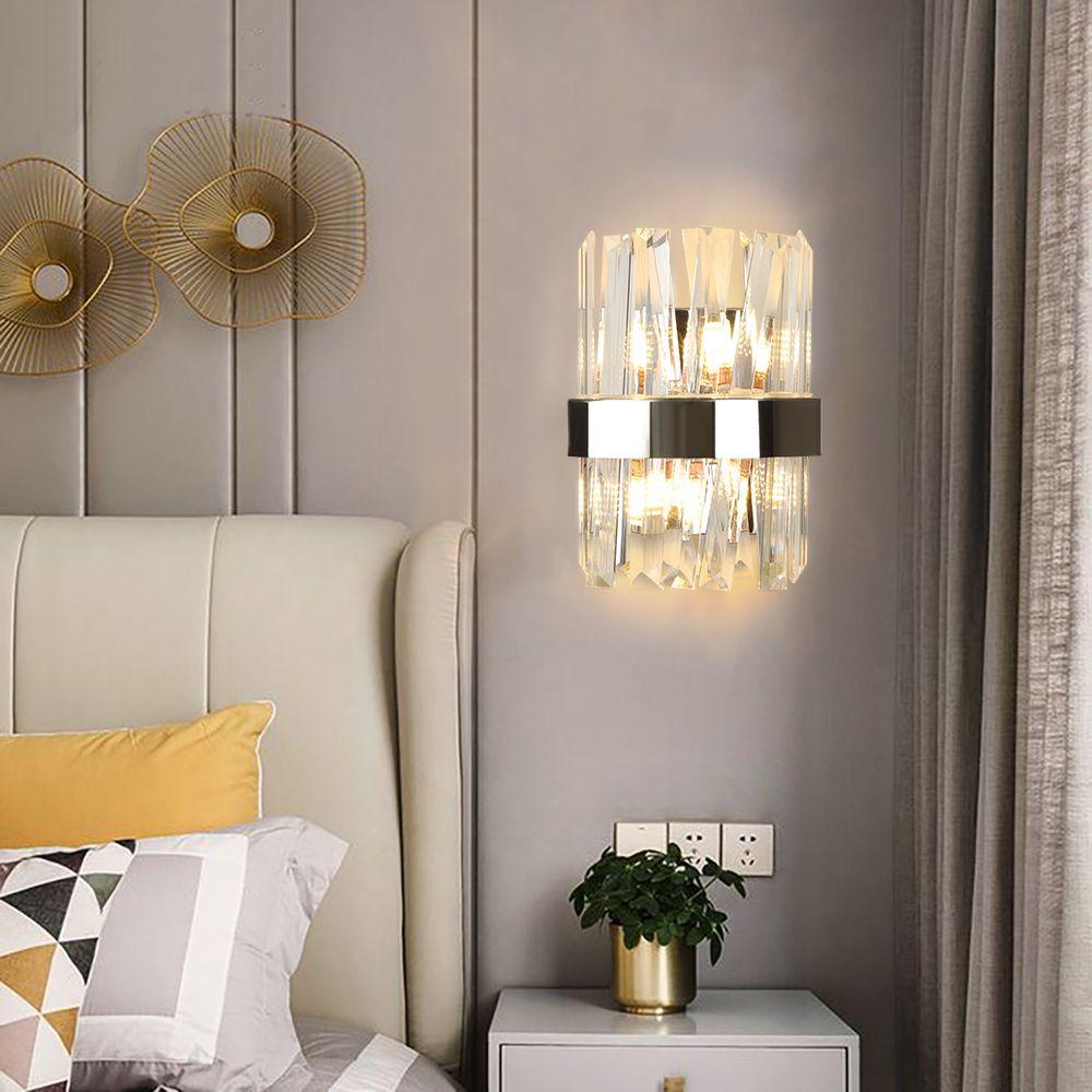 Modernos cristal cromo luzes de parede de parede levou luzes do banheiro lâmpada de ouro para o quarto decoração iluminação luminárias internas