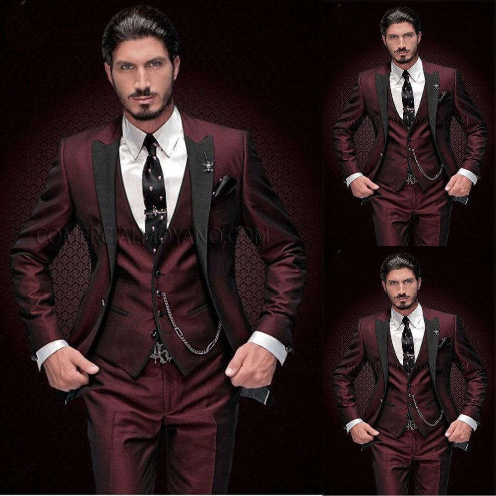 Top Quality vino rosso abiti uomo vestito di 3 pezzi con Black Peak risvolto Slim Fit smoking Groomsman di nozze smoking