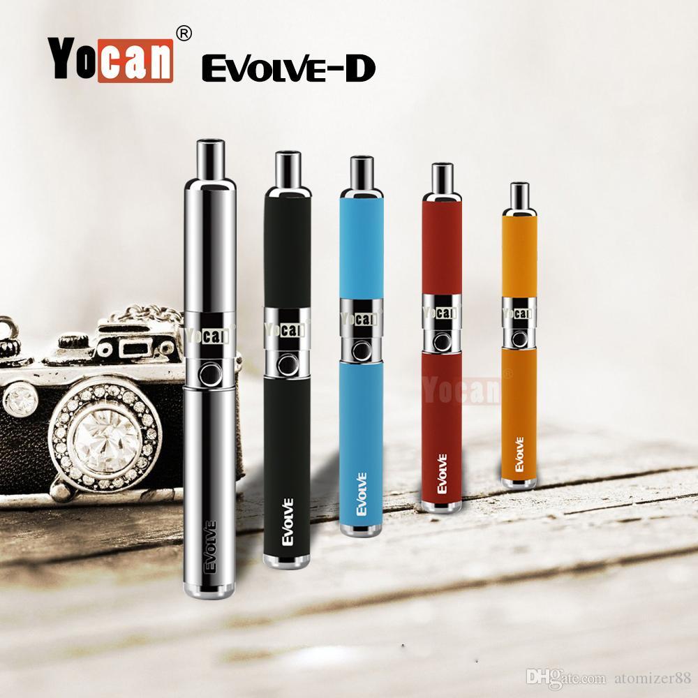 100% Original Yocan Evolve-D starter kit dry herb vaporizer vape pen with pancake Dual Coils 650mAh Battery ego 510 thread atomizer DHL Free