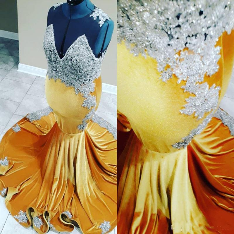Gold Silver Lace Prom Dresses Mermaid 3D Lace Applique Sheer Neck African Prom Party Dress vestidos de fiesta