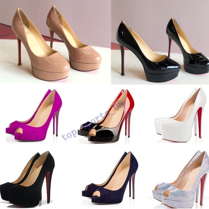 2020 clássico Vermelho Marca Inferior Salto Alto Sapato Plataforma Bombas Nude / preto do couro envernizado Peep-toe Vestido Mulheres Sandals Wedding Shoes tamanho 34 * 45