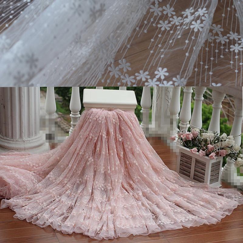Frete grátis width120cm renda bordada Rosa Vintage Fabric, vestido de casamento Lace tecido vestido de noiva