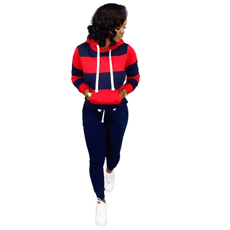 Getäfelten Frauen mit Kapuze Tracksuits beiläufige lose Female Striped Printed Sports Set Modedesigner Damen 2Stk Set