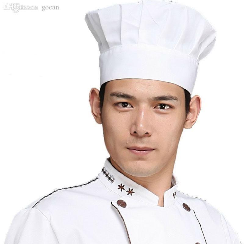 Toptan Satış - Toptan-1 ADET Yetişkin Elastik Beyaz Otel Chef Hat Baker Barbekü Mutfak Yemek Şapka Kostüm Cap