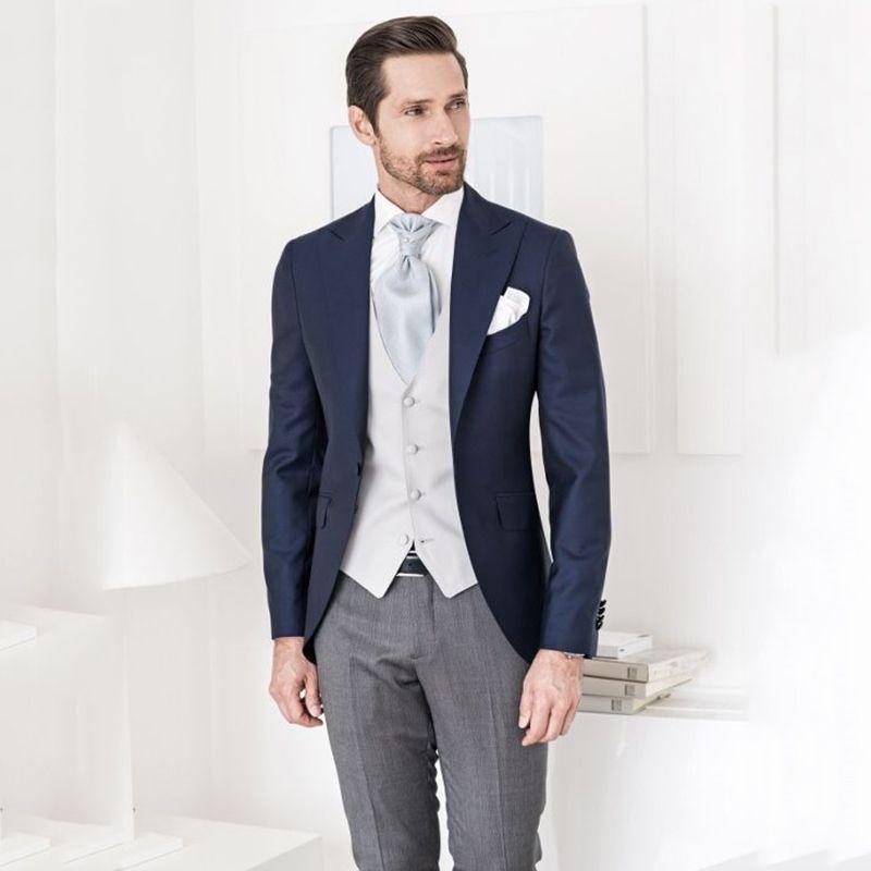 Latest Coat Pant Designs Navy Blue Groom Tuxedos Men Suits for Wedding White Vest Formal Groomsmen Suits Classic Best Man Blazers 3Piece