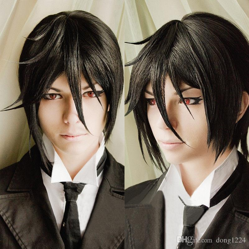 ePacket free shipping >Anime Kuroshitsuji Black Butler Sebastian Michaelis Short Black Cosplay Hair Wig