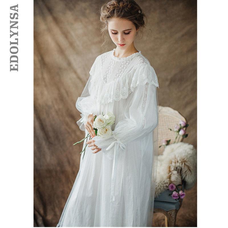النساء السيدات الفيكتوري نمط طويل الأكمام خمر الصلبة الدانتيل الأبيض ثوب النوم زائد حجم ملابس خاصة اللباس زائد الحجم t26 Y19042803
