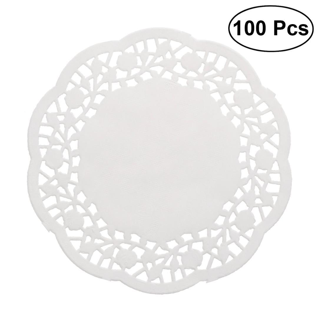 100pcs Disposable Oil-absorbing White Lace Paper Doilies Cake Box Liner Packaging Paper Pad Baking Tools