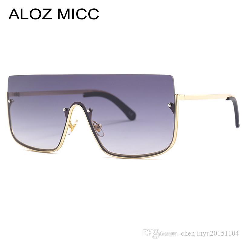 Übergroße Micc Eyewear-Sonnenbrille Halbzeit 2019 ALOZ Mode Marke Designer New Shade Sonnenbrille Männer Gradient Frame Frauen A413 Ptjau