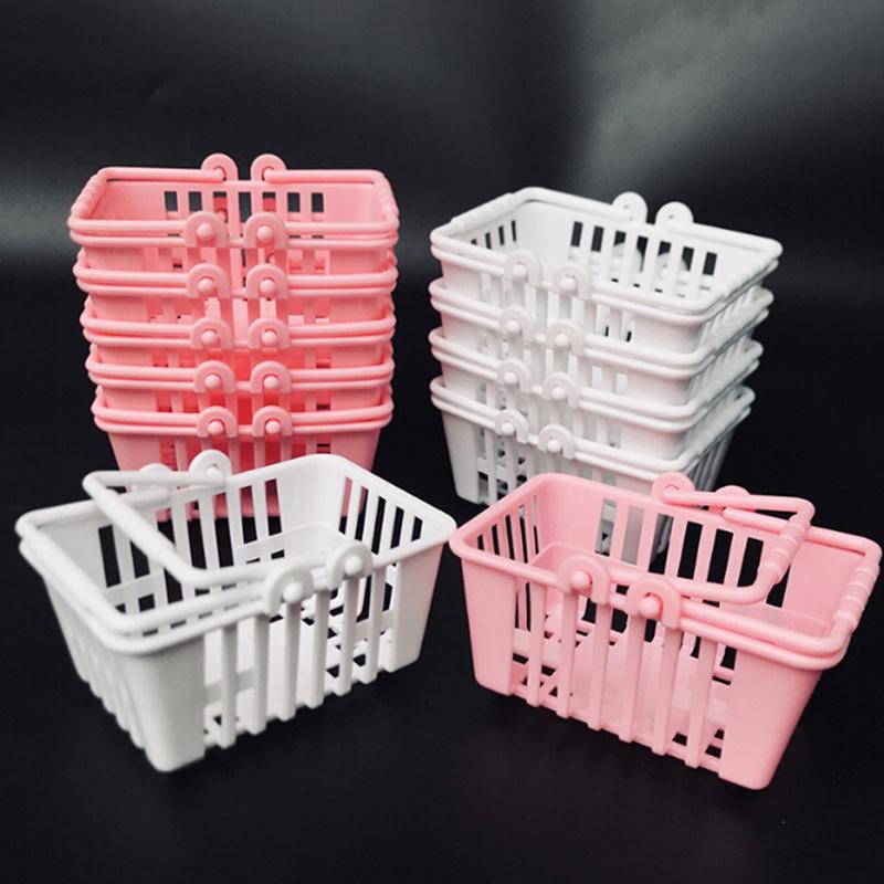 Nueva carrito juegos de simulación Juguetes niños mini supermercado compras Mano cesta Modelo casa de muñecas en miniatura muebles