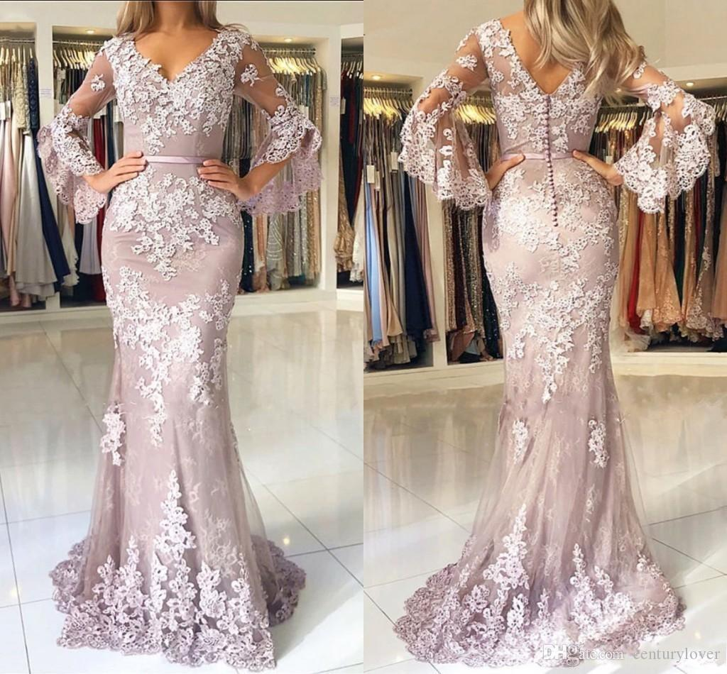 Cheap Sexy Mermaid Evening Dresses for Women Wear V Neck Lace Appliques Poet Sleeves Button Back Plus Size Formal Prom Dress Party Gowns