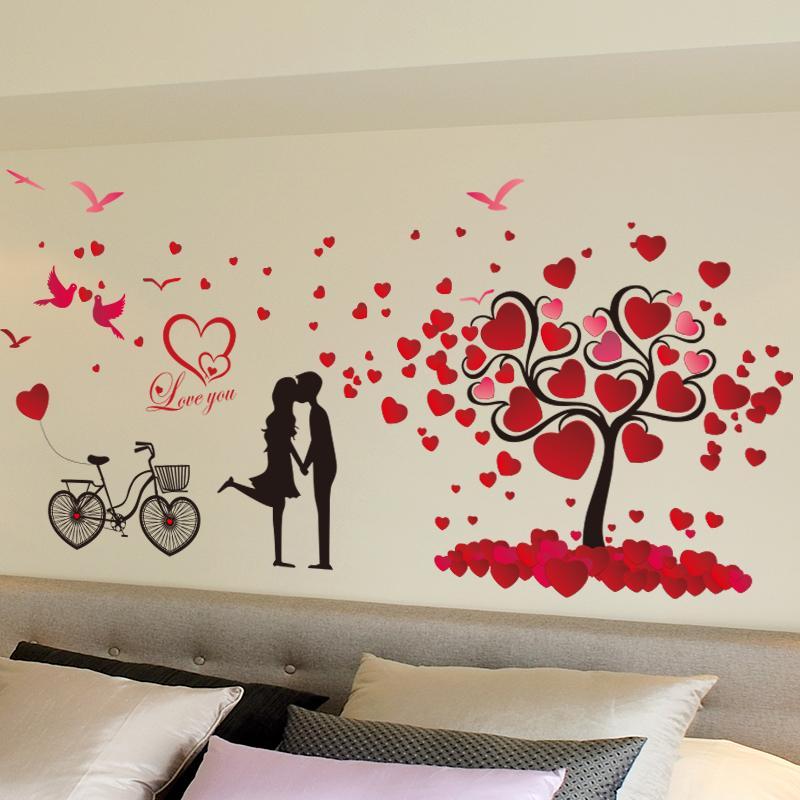 quarto casamento parede da sala adesivos de parede decoração Valentine amor árvore do coração ciclismo amantes casal wallpaper 60 * 90cm decalques de parede de vinil