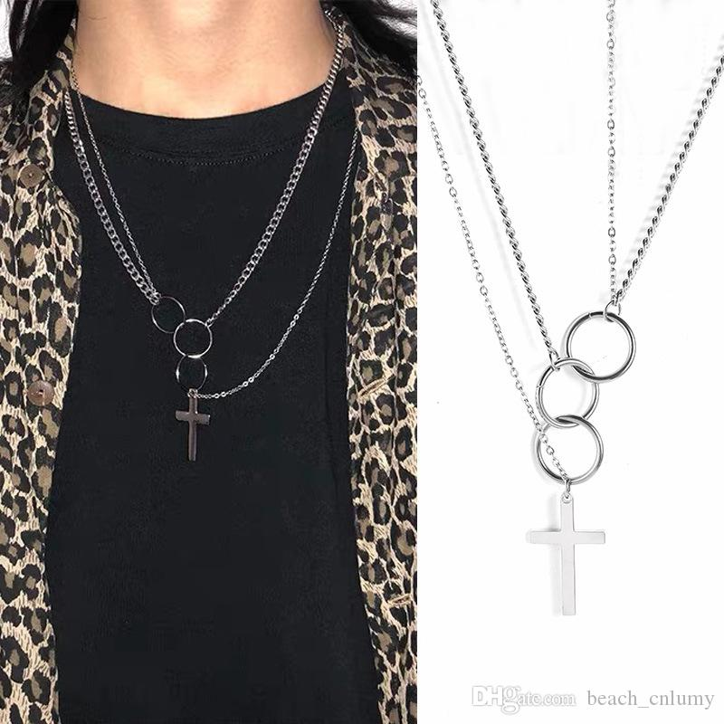 Моды для мужчин кулон ожерелья преувеличены панк хип-поп булавка крест круг кольцо кулон воротник цепи ожерелья шарм ювелирные изделия аксессуары
