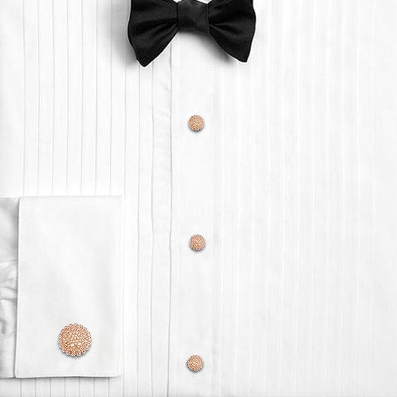 HAWSON Cufflinks and Studs for Men-Flower Pattern Men Fashion Tuxedo Shirt Silver Cufflinks and Studs Set for Regular Weeding Business Accessories