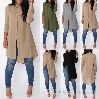 Camicie in chiffon Womens Blusas 2018 Moda Autunno Bianco Maniche lunghe Camicia corpo irregolare Camicie donna Top Camicetta formale in cotone Abbigliamento