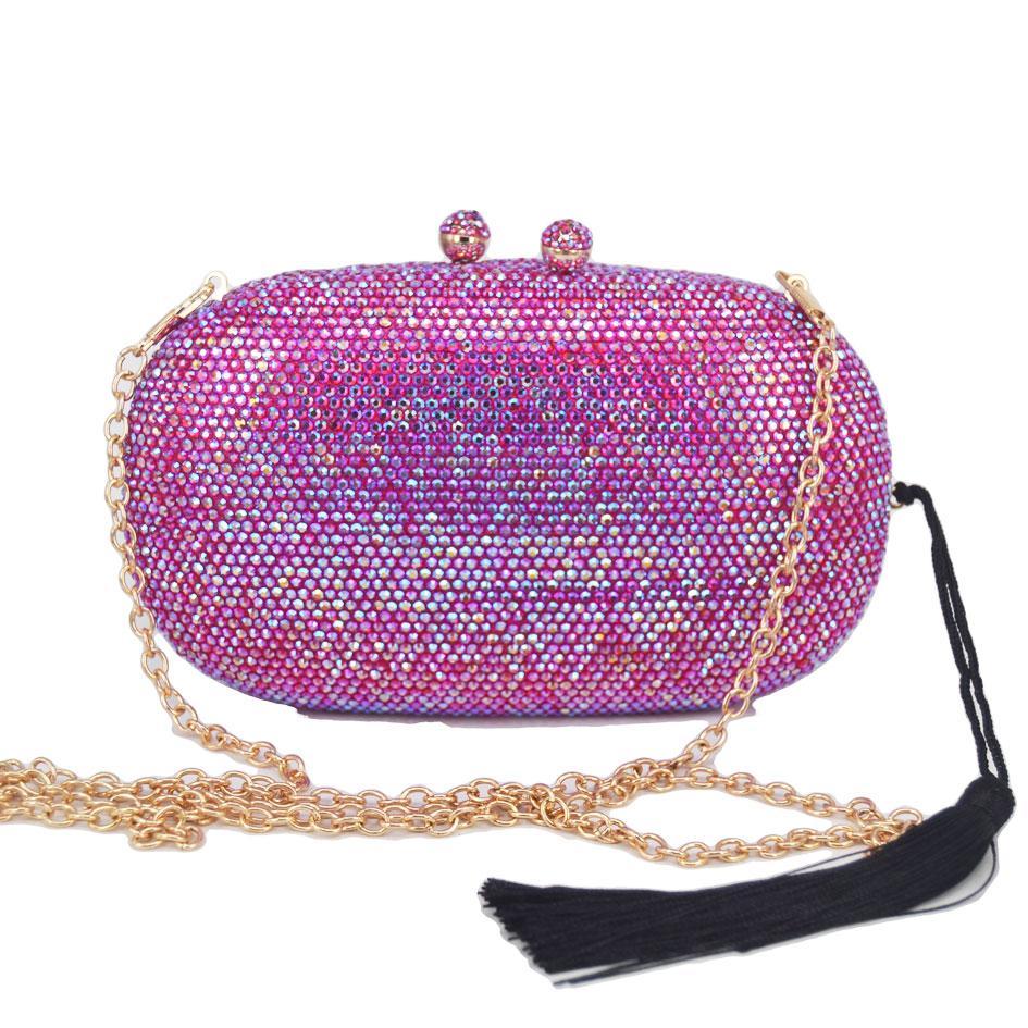 borlas Crystal Fashion embreagem noite sacos Rose partido do ouro bolsa de prata do casamento Bolsas de noiva AB-de-rosa fúcsia noite saco