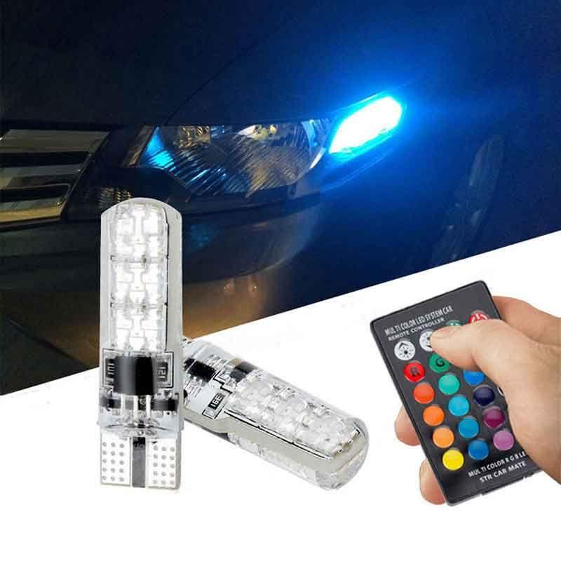 2 piezas de T10 5050 RGB LED Multi-Color interior de la cuña lateral luz estroboscópica de control remoto