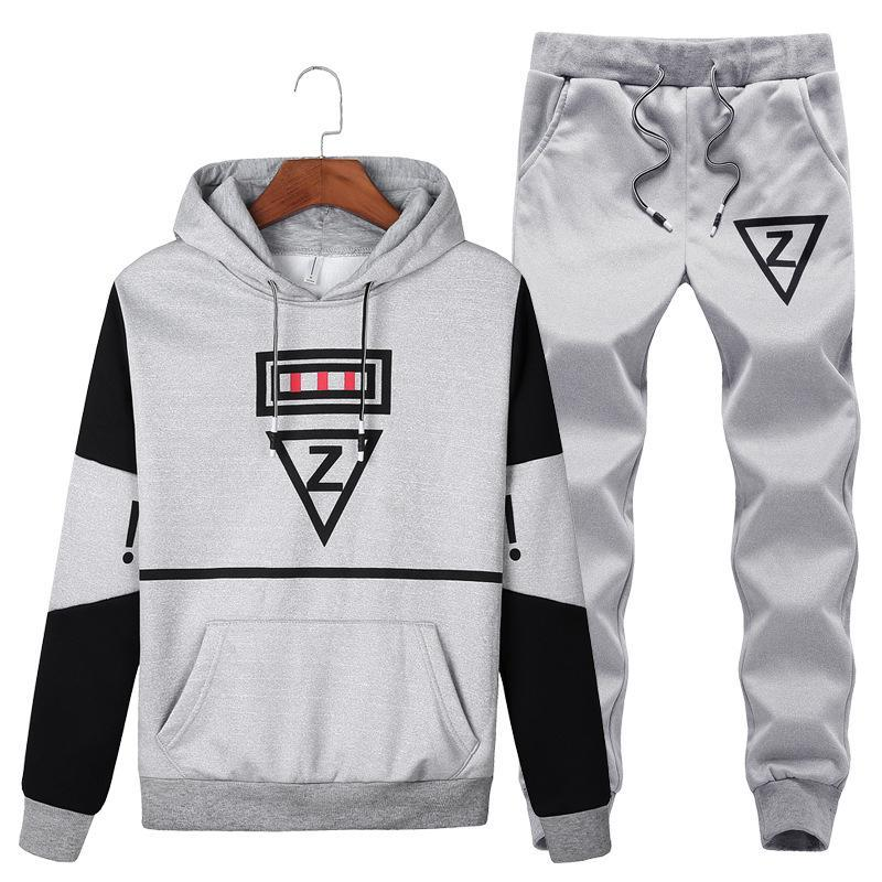 Size M-5XL Sportswear Autumn Mens Casual Sporting Suits Pockets Hooded Hoodies + Pants Two Piece Set Male Tracksuit Funny