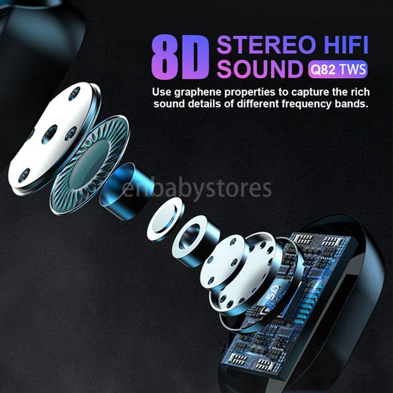 Kulaklık Q82 Kablosuz Bluetooth Led tws 5.0 Kulaklık Eller serbest Müzik Gürültü Davasını Şarj 8d Stereo Kulaklık Spor Kulaklık Mic iptal