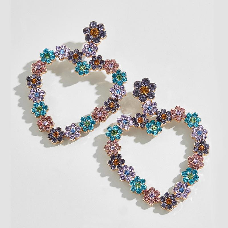 Coração Beautysis Multicolor Flower Rhinestone Brincos Jóia Encrusted Boutique