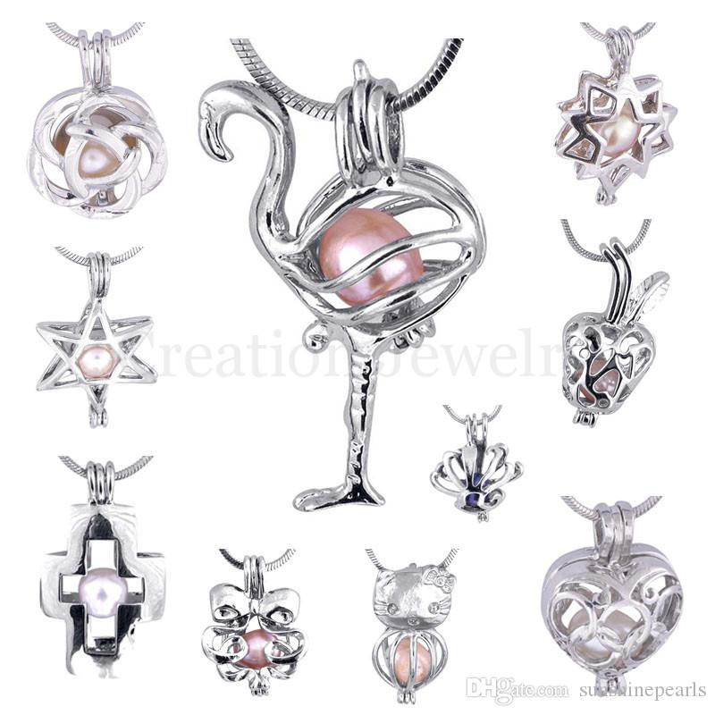 Mixed 300 Designs Pearl Cage Pendant Necklace 2019 New Love Wish Essential Oil Diffuser Hollow Locket Necklaces Lava Yoga Jewelry
