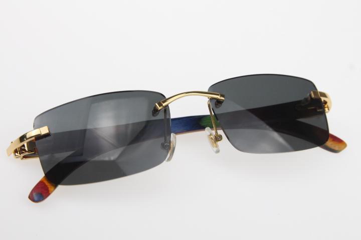 2019 Großhandel randlose Brille Männer Neuen Pfau Holz SunGlasses Hot 3.524.012 Randlos SunGlasses Hot Unisex Designer Holz-Sonnenbrille mit Kasten