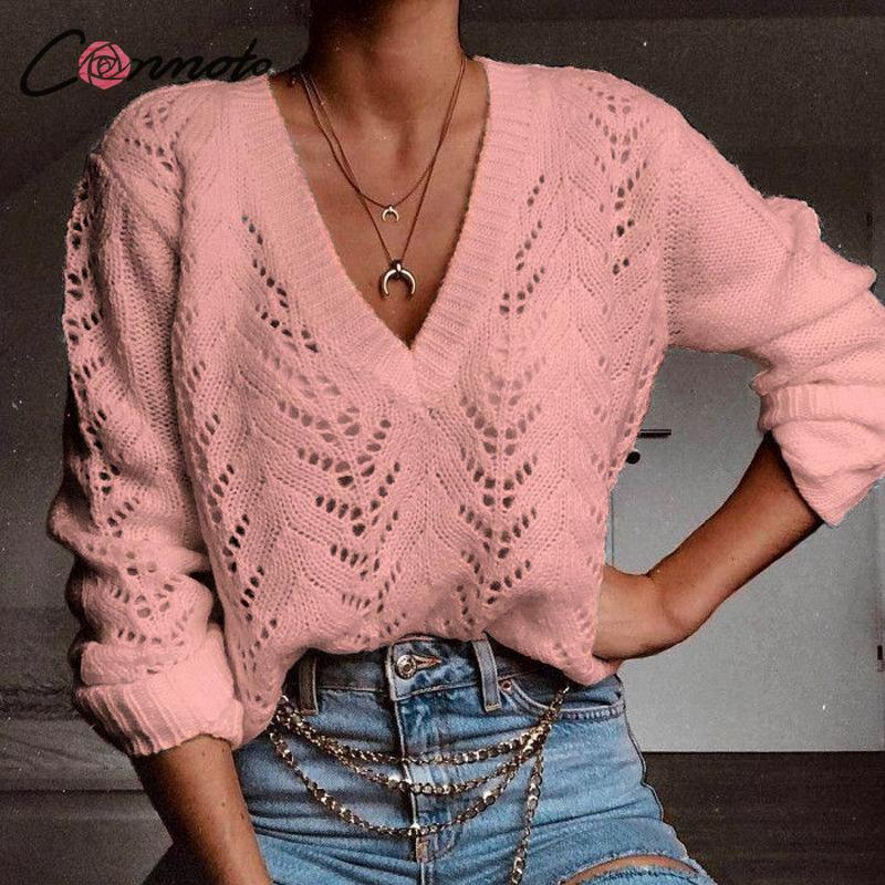 wholesale outono inverno queda 2019 camisola mulheres causal pullover camisola de malha jumper sólido escavar blusas malhas